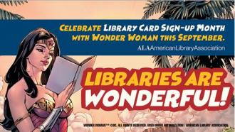 wonder woman library card sign-up month